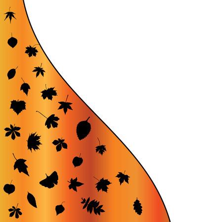 orange wallpaper: Illustration of  Autumn leaf silhouettes background. Orange wallpaper design.