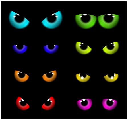 ojos negros: Imagen del feliz Halloween de fondo espeluznante Diseño plano. Ilustración vectorial de tarjeta de invitación con los ojos asustadizos, ojos, iris.