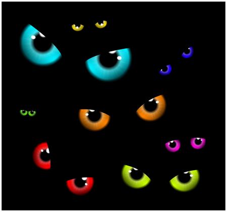 Image of Happy Halloween  spooky background Flat design. Vector illustration of invitation card with scary eyes, eyeballs, iris.