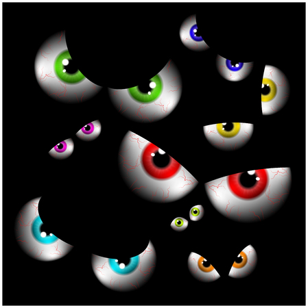 human eye: Set of realistic spooky, scary,  human eye ball with colorful pupil, iris. Halloween vector illustration isolated on black background.