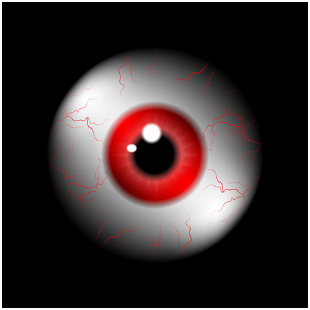 Image of realistic human eye ball with red pupil, iris. Vector illustration isolated on black background. Illustration
