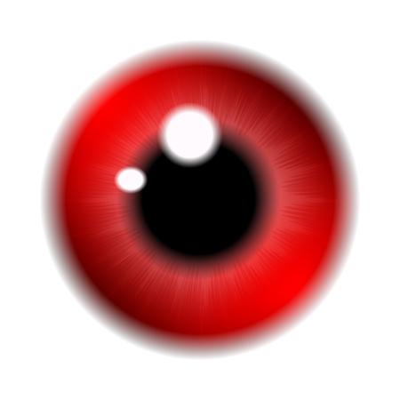 eye red: Image of red  pupil of the eye, eye ball, iris eye. Realistic vector illustration isolated on white background. Illustration