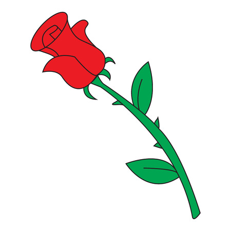 Image of cartoon red rose icon. Vector illustration isolated on white background.  イラスト・ベクター素材