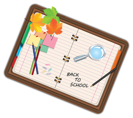 pocketbook: Image of notebook, pocketbook, diary with sign back to school and school supplies, equipment, accessories, items, tools. Cartoon illustration isolated on white background. Stock Photo