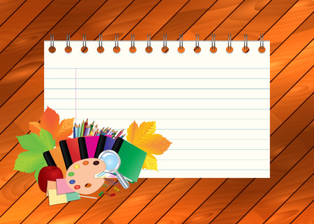 school kit: Image of empty note, card, paper, with school supplies, equipment, accessories, items, tools. Cartoon illustration on wooden background.