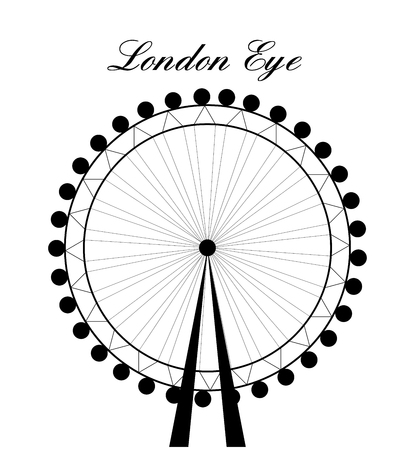 london eye: Image of cartoon London Eye silhouette with sign.Vector illustration isolated on white background.