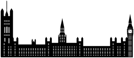 Image of cartoon Houses of Parliament and Big Ben silhouette. Vector illustration isolated on white background.