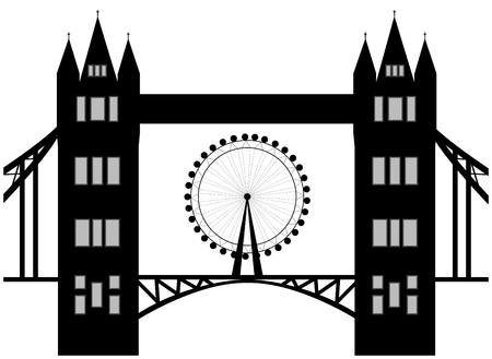 london tower bridge: Image of cartoon Tower bridge and london eye  silhouette. Vector illustration isolated on white background.