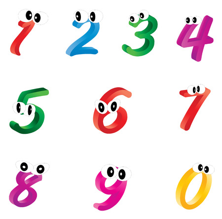 droll: Set of cartoon numbers, digits with eyes. Funny, cheerful and colorful illustration for children isolated on white background. Stock Photo