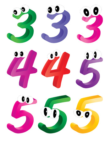 cypher: Image of cartoon number, digit three, four, five with eyes. Funny, cheerful and colorful illustration for children isolated on white background.
