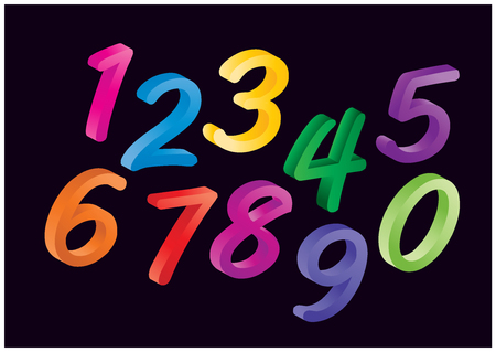 droll: Set of colorful cartoon numbers, digits. Funny and cheerfull illustration for children isolated on black background.