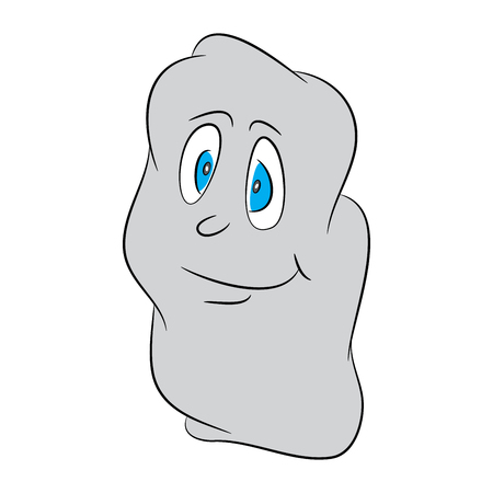 Image of shy, lovely, cute, halloween cartoon ghost. Vector illustration isolated on black background. Illustration