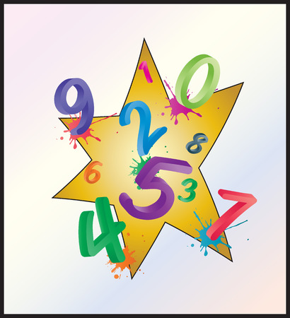 Image of colorful math background with cartoon numbers, digits. Funny and cheerfull illustration for children isolated on white background.