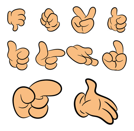 flesh: Image of cartoon human gloves hand gesture set. Vector illustration isolated on white background. Illustration
