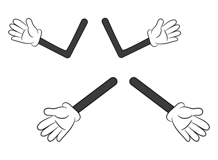 gesture set: Image of cartoon human gloves hand with arm gesture set. Vector illustration isolated on white background. Illustration