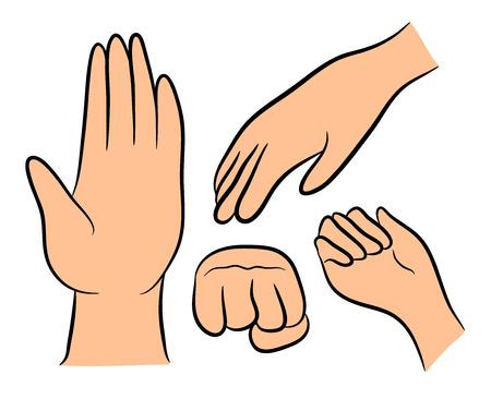 gesture set: Image of cartoon human hand gesture set. Vector illustration isolated on white background. Illustration