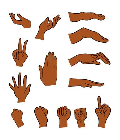 gesture set: Image of cartoon black man, negro human hand gesture set. Vector illustration isolated on white background. Illustration