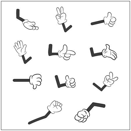 팔 제스처 세트 만화 인간의 장갑 손의 이미지. 벡터 일러스트 레이 션 흰색 배경에 고립입니다. 일러스트