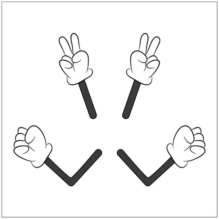Image of cartoon human gloves hand with arm gesture set. Vector illustration isolated on white background.  イラスト・ベクター素材