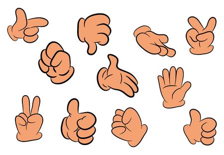 gesture set: Image of cartoon human gloves hand gesture set. Vector illustration isolated on white background. Illustration