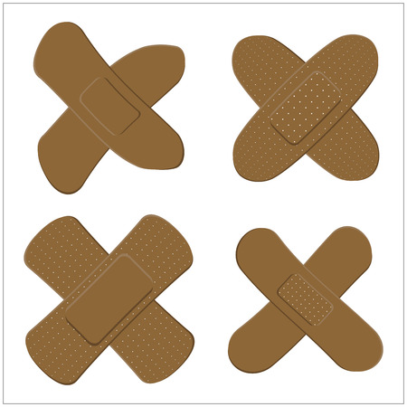 Set of Adhesive, flexible, fabric plaster for dark skin. Medical bandage in different shape - curved cross. Vector illustration isolated on white background. Illustration
