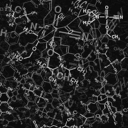 化学技術の抽象的な背景のイメージ。学校の化学式と構造科学壁紙。