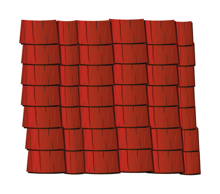 slate roof: Vector texture illustration of red clay roof tiles, slate. Illustration