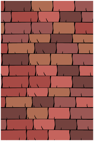slate roof: Vector texture illustration of Seamless red clay roof tiles, slate.