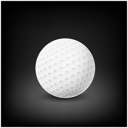 golfball: Golfball realistic vector. Image of single golf equipment, ball.  illustration isolated on dark mesh  background.