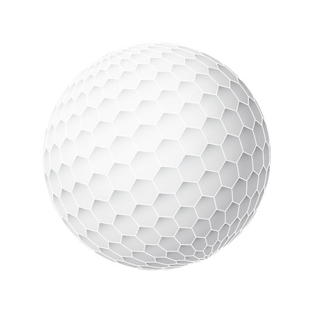 golfball: Golfball realistic vector. Image of single golf equipment, ball illustration isolated on white background.