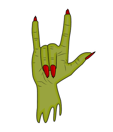 finger up: Zombie hand Horns, satan sign finger up gesture halloween vector. realistic cartoon illustration isolated on white background . Image of scary monster hand with torn, riven green skin.