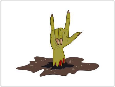 satanas: Cuernos de la mano del zombi, satan�s firman de tierra de halloween vector. ilustraci�n realista de dibujos animados aislado en el fondo blanco. Imagen de miedo dedo hacia arriba gesto monstruo Vectores