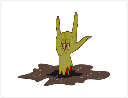 finger up: Zombie hand Horns, satan sign out of ground halloween vector. realistic cartoon illustration isolated on white background. Image of scary monster finger up gesture