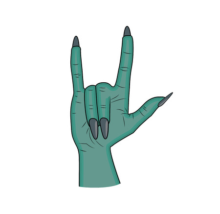 finger up: Zombie hand Horns, satan sign finger up gesture halloween vector. realistic cartoon illustration isolated on white background . Image of scary monster hand blue skin.