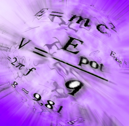 wallpaper image: Image of physical technology abstract background. Science wallpaper with school physics formulas and structures. Stock Photo