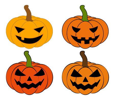 Halloween pumpkin vector illustration set, Jack O Lantern  isolated on white background. Scary orange picture with eyes.