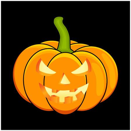 black jack: Halloween pumpkin vector illustration, Jack O Lantern  isolated on black background. Scary orange picture with candle light inside. Illustration