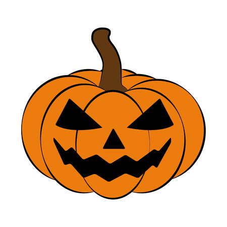jack o  lantern: Halloween pumpkin vector illustration, Jack O Lantern  isolated on white background. Scary orange picture with eyes.