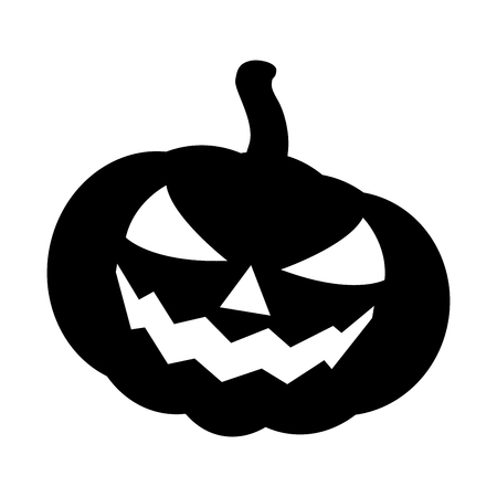 Halloween pumpkin silhouette vector illustration, Jack O Lantern  isolated on white background. Scary orange picture with eyes.  イラスト・ベクター素材