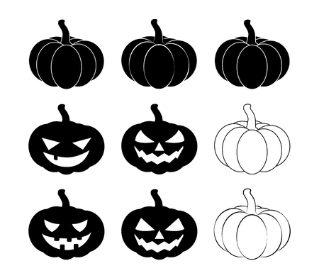 Halloween pumpkin silhouette set vector illustration, Jack O Lantern  isolated on white background. Scary orange picture with eyes.