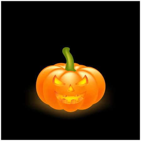scary face: Halloween pumpkin vector illustration, Jack O Lantern isolated on black background. Scary orange picture with eyes and candle light inside.
