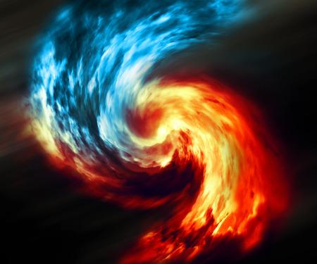 火と氷の抽象的な背景。暗い背景に赤と青の煙の渦