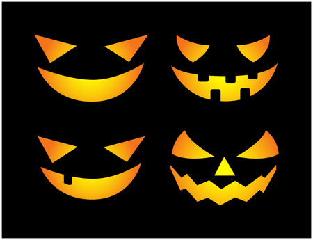 Halloween scary pumpkin face vector illustration set, Jack O Lantern smile isolated on black background. Scary orange picture with eyes in the dark. Ilustracja