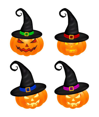 Halloween pumpkin in hat vector set illustration, Jack O Lantern isolated on white background. Scary orange picture with eyes and candle light inside.