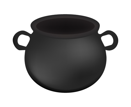 gradient mesh: Empty witch cauldron,pot. Realistic Vector illustration isolated on white background. Created with gradient mesh. Illustration