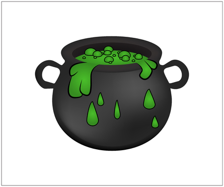 brew: Witch cauldron with green potion, bubbling witches brew. Realistic Vector illustration isolated on white background.