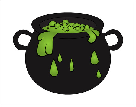 bubbling: Witch cauldron with green potion, bubbling witches brew. Cartoon Vector illustration isolated on white background. Illustration