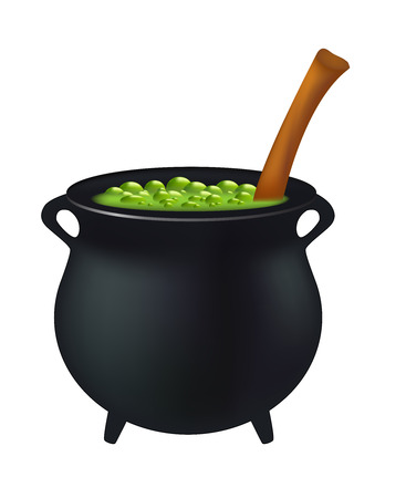 magic cauldron: Witch cauldron with green potion, bubbling witches brew. Realistic Vector illustration isolated on white background.