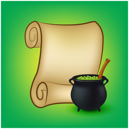Halloween banner, card with empty paper scroll and witches cauldron, green potion. Blank ancient scroll of parchment wallpaper, background. Poster or brochure for Halloween party. Vector illustration. Ilustracja