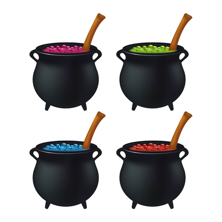 wicked witch: Witch cauldron with colorful potion, bubbling witches brew. Realistic Vector illustration isolated on white background.
